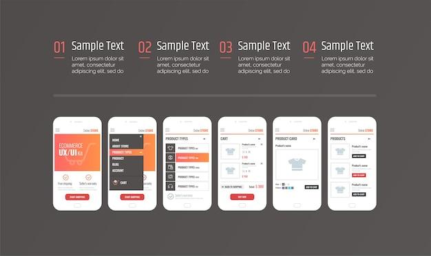 Interface do aplicativo infographics mobile ux ui kit com texto e números