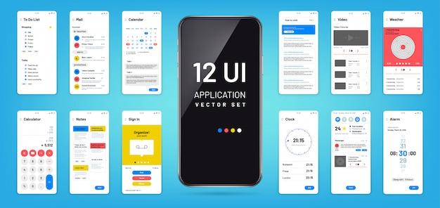 Interface do aplicativo mobil. modelos de wireframe de tela da interface do usuário, ux. design de vetor de aplicativo de tela de toque