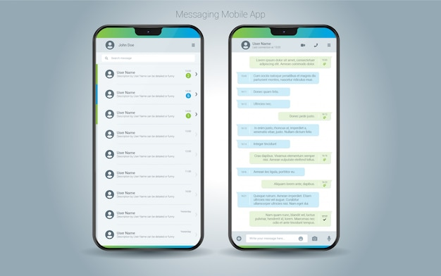 Interface do aplicativo móvel de mensagens