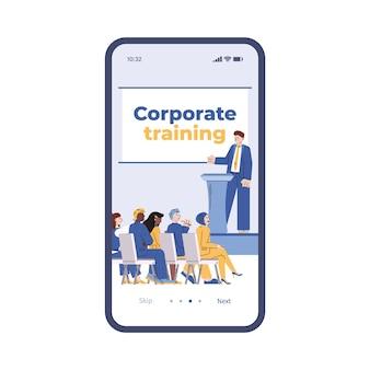 Interface do aplicativo móvel na tela do telefone com treinamento corporativo para funcionários da empresa
