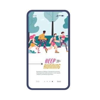 Interface do aplicativo móvel na tela do telefone