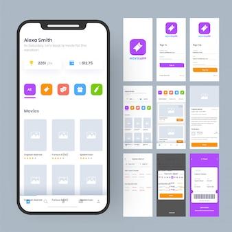 Interface do aplicativo móvel.