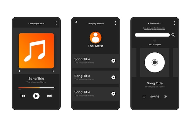 Interface do aplicativo music player