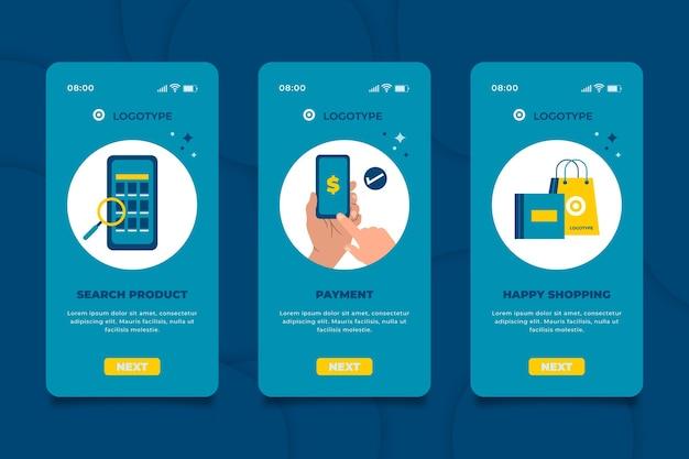 Interface do aplicativo online de compra