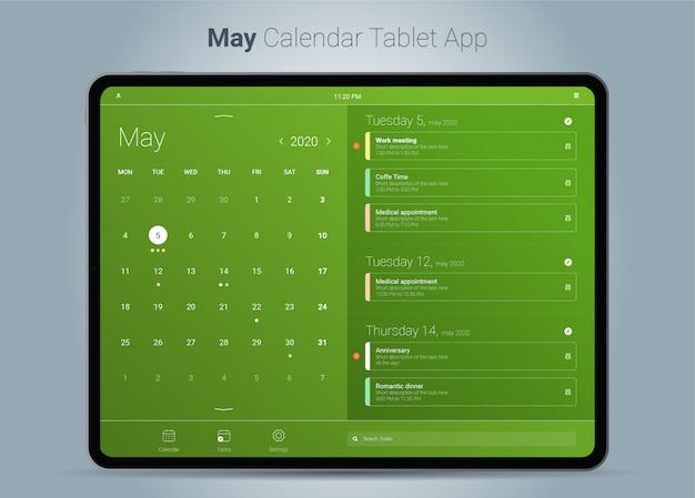 Interface do aplicativo para tablet do calendário de maio