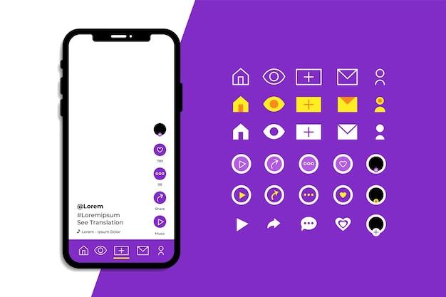Interface do aplicativo tiktok com pacote de ícones