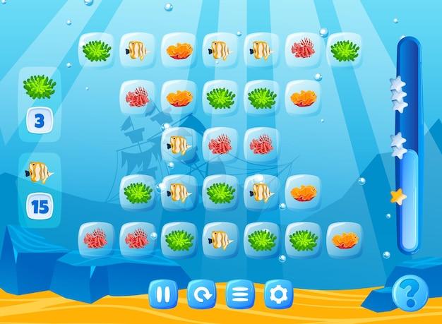 Interface do elemento da natureza do mundo subaquático da arte do jogo de peixe