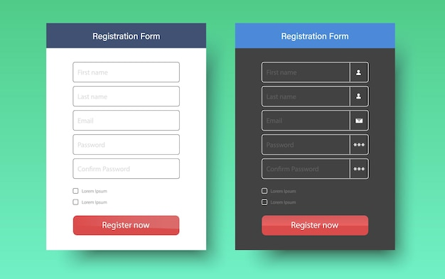Interface do formulário da web do formulário de inscrição