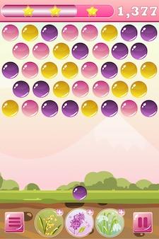 Interface do jogo bubble shooter com flores de bônus