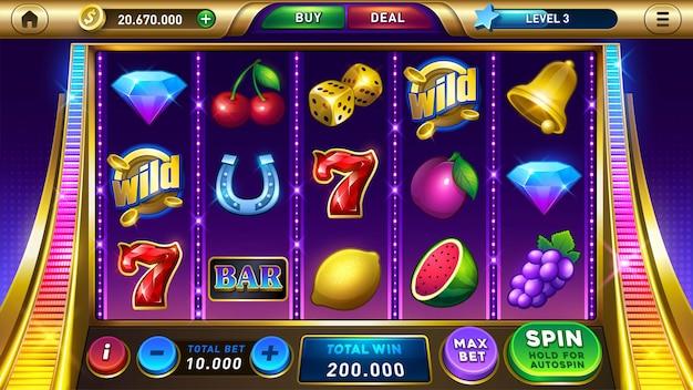 Interface do jogo de cassino com tela principal de caça-níqueis