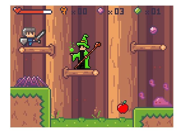 Interface do jogo de computador pixel e assistente no manto esperando pelo herói