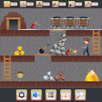 Interface do jogo de mineração