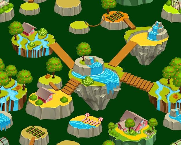 Interface do mapa com ilhas e escada suspensa