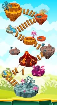 Interface do mapa com ilhas e escada suspensa.
