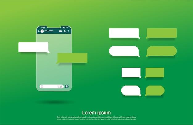 Interface do modelo de bate-papo da tela do whatsapp com bolha de bate-papo