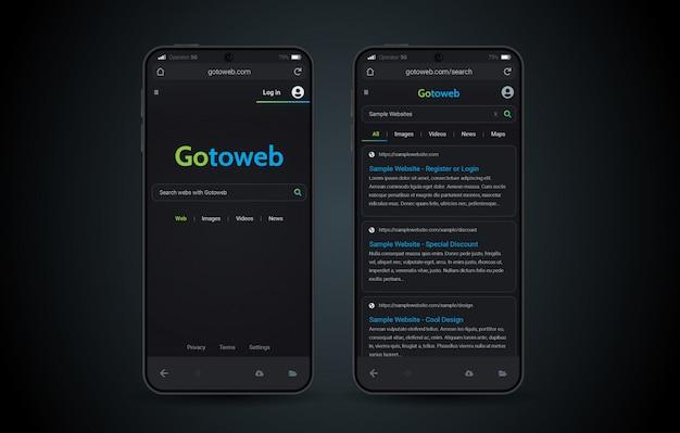 Interface do modo escuro móvel do navegador da web