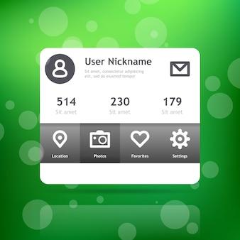 Interface do perfil. aplicação mínima para web ou dispositivos móveis.