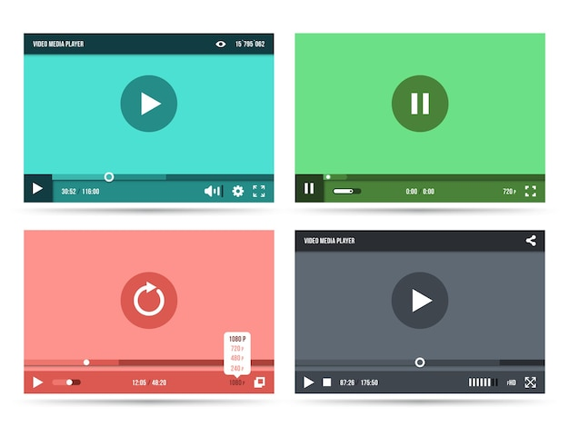 Interface do player de vídeo definida Vetor grátis