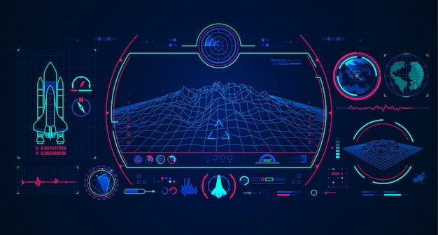 Interface do radar da nave espacial