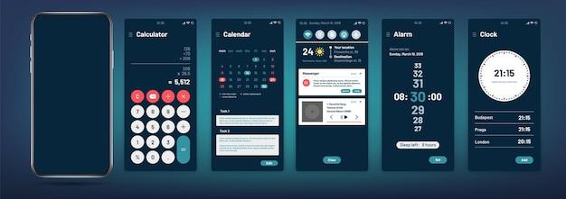 Interface do telefone. modelo de aplicativo móvel moderno.