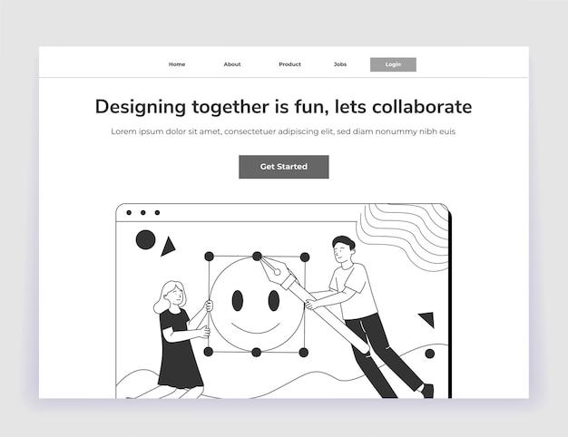 Interface do usuário da página inicial do design da ilustração de colaboração