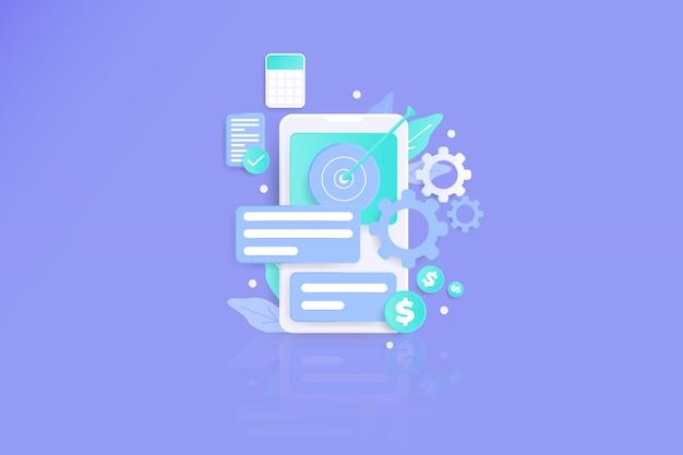 Interface do usuário da página móvel da parceria de negócios