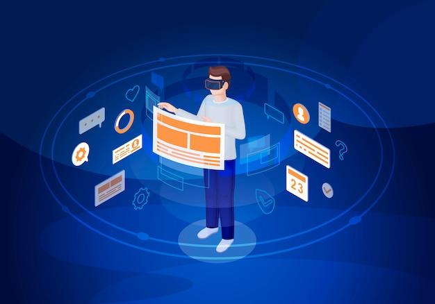 Interface do usuário de realidade virtual isométrica