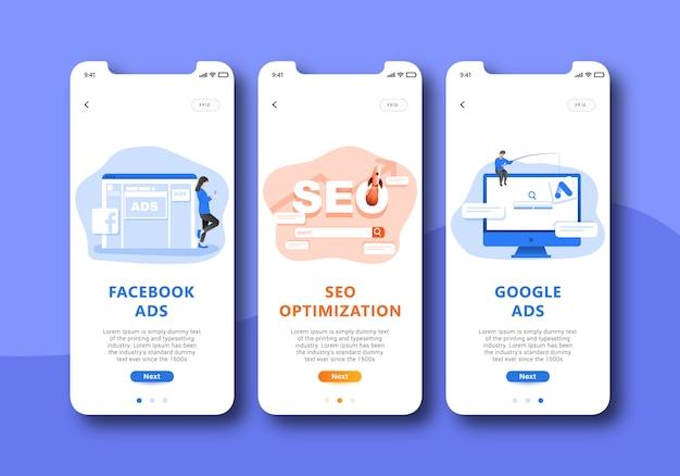 Interface do usuário de tela de integração de marketing digital móvel