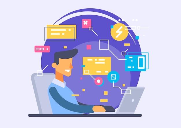 Interface do usuário, desenvolvimento de aplicativos e ui, ux. ilustração criativa.