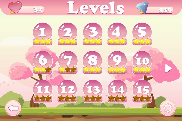 Interface do usuário do jogo de seleção de nível