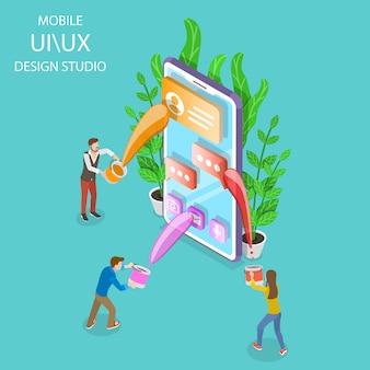 Interface do usuário e ux design studio apartamento isométrico.
