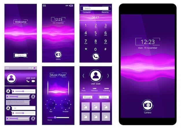 Interface do usuário móvel. interface de modelo de design do aplicativo de telefone