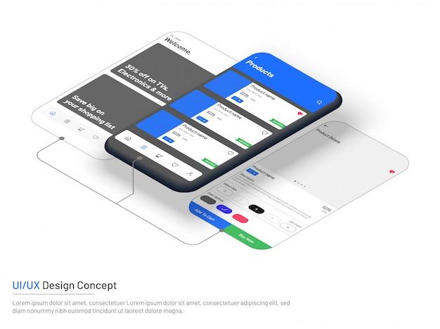 Interface do usuário (ui) ou experiência do usuário (ux) no e-commerce.