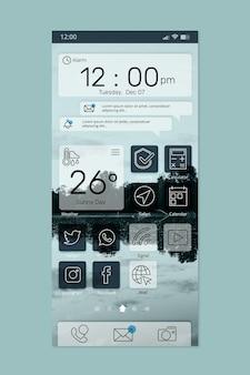 Interface elegante da tela inicial