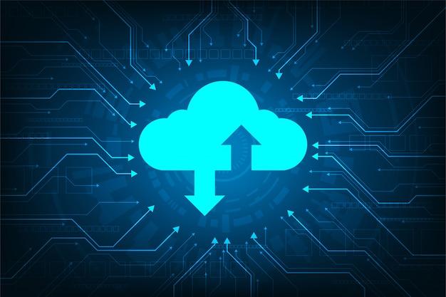 Interface em nuvem que mostra o upload de dados para a internet.