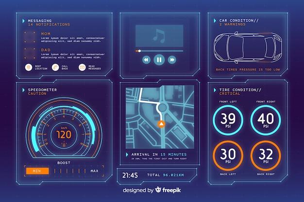 Interface holográfica futurista de um carro