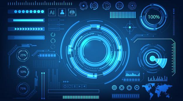 Interface holograma azul plano de fundo
