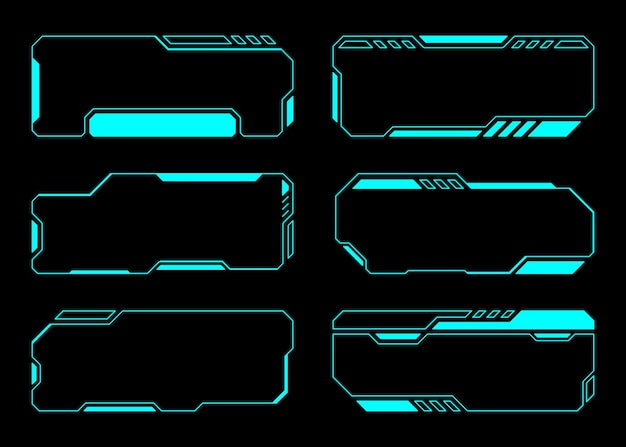 Interface hud do futuro conjunto de tecnologia de quadro abstrato