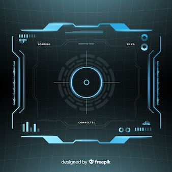 Interface hud futurista com estilo gradiente