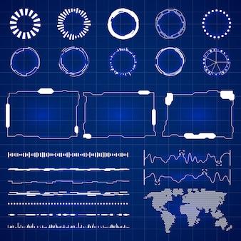 Interface hud futurista de sci. tela de tecnologia moderna com ilustração de painéis