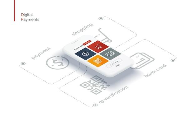 Interface móvel do sistema de pagamento infográficos com um telefone móvel