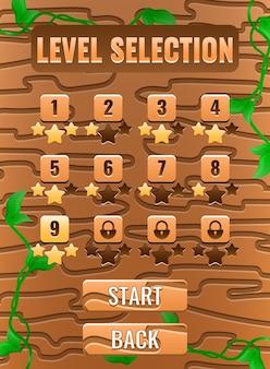 Interface pop-up do quadro de seleção de nível de natureza de madeira da interface do usuário do portrait game para elementos de recursos gui