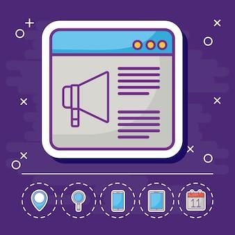 Interface web com ícones relacionados com marketing on-line