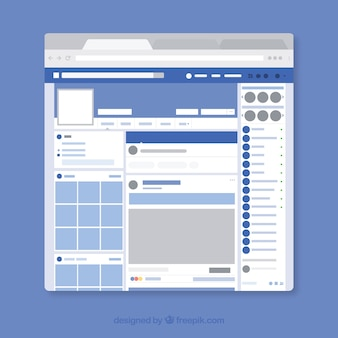 Interface web do facebook com design minimalista
