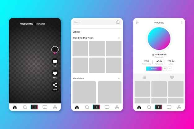 Interfaces de aplicativos tiktok criativas