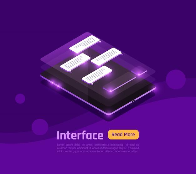 Interfaces e pessoas coloridas e isométricas brilham banner com interface abstrata na ilustração em vetor tela smartphone