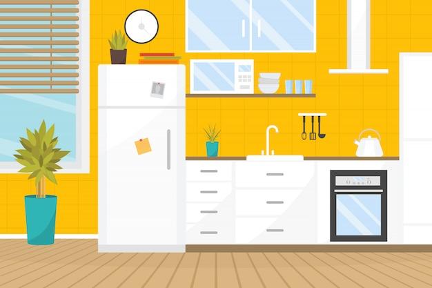 Interior acolhedor cozinha com móveis e fogão, pratos, geladeira e utensílios.