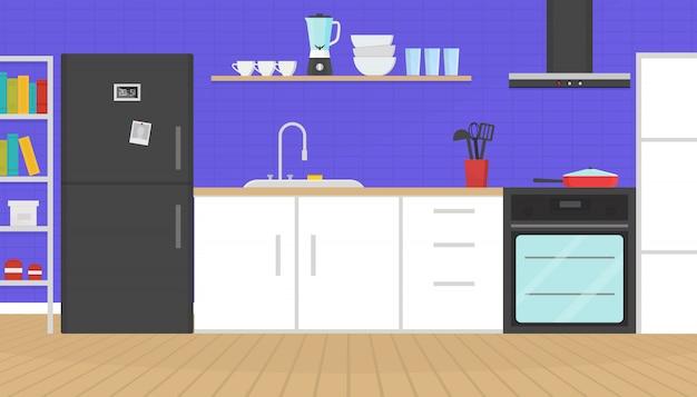 Interior acolhedor cozinha com móveis, utensílios e eletrodomésticos.