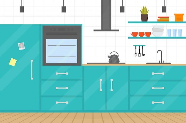 Interior acolhedor cozinha moderna com móveis e fogão, pratos, geladeira e utensílios