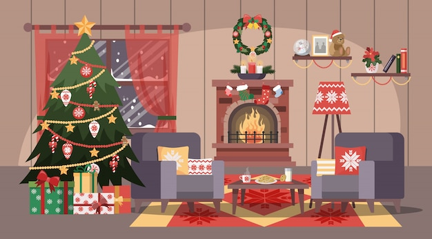 Interior acolhedor sala de natal com caixas de árvore e presente.